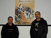 Pedro Grimao y Alfonso Pascual, con el cartel del que son autores