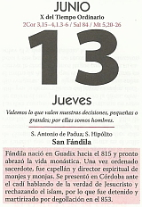 Hoja calendario 13 junio
