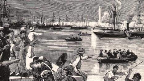 Llegada de los fugitivos de Orán al Puerto de Almería en el vapor Victoria. Año 1881 / Ilustración Española