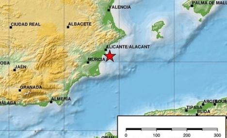 Mapa a escala, indicando en epicentro (Instituto Sismológico Nacional)