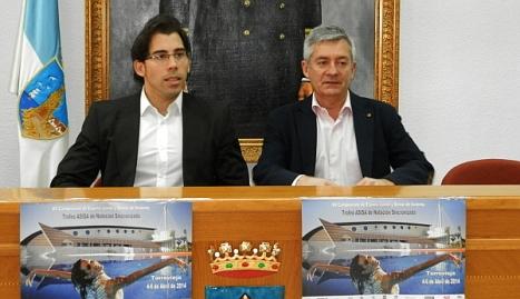 El concejal de deportes y el Presidente de la Federación Españoal de natación presentaron ayer el Campeonato
