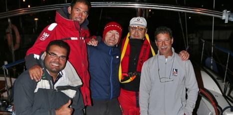 La tripulación del Stela Polaris vencendora de la prueba, a su llegada a Formentera