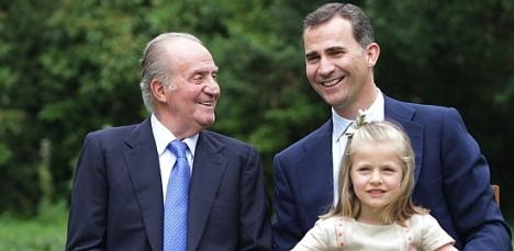 S.M. el Rey Juan Carlos I, el futuro Rey, Felipe VI y la futura Princesa de Asturias, Leonor de Borbón