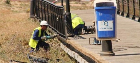 Trabajos de reparación de la pasarela