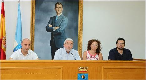 De Izda a Dcha.: Pablo Samper (ST); J. Manuel Dolón, Alcalde (LV); Fanny Serrano (PSOE) y Víctor Ferrández (IU)
