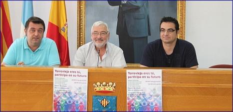 El alcalde y los concejales de seguridad y participación ciudadana en rueda de prensa