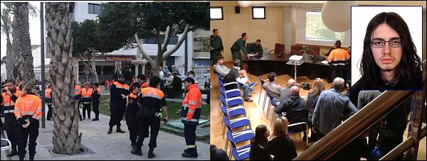 Dos instantáneas del Ayuntamiento de Los Motnesinos, que se convirtió ayer en punto de encuentro de la operación de búsqueda. En el recuadro superior la imagen de Carlos Iborra