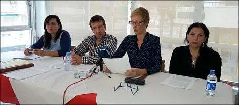 Representantes de la Plataforma en la rueda de prensa del pasado Martes