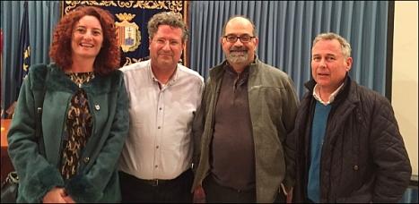 Fanny Serrano, concejala de Medio Ambiente del Ayuntamiento de Torrevieja; José Luis Ferrando, director general de Ordenación del Territorio, Urbanismo y Paisaje; Vicente Henarejos, portavoz de SLF, y Manuel Pamies, miembro de SLF.